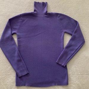 GAP Purple Ribbed Cotton Turtleneck Sweater L